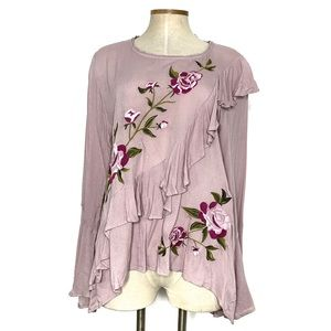 UMGEE pink ruffled floral embroidered top
